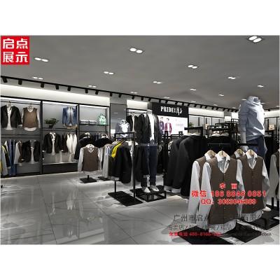 广州质量好的服装货架标准 铁木结合男装货架